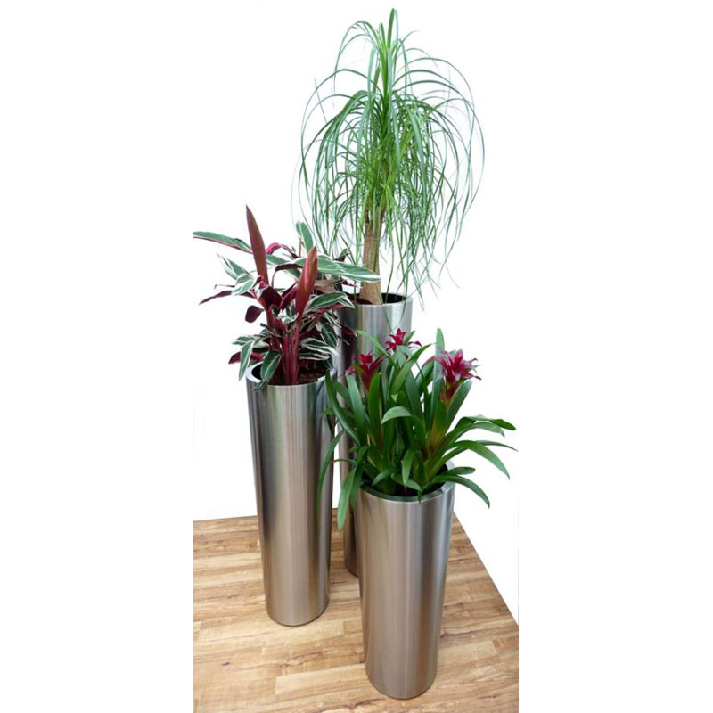 Brushed Stainless Steel Conical Planters From potstore.co.uk on