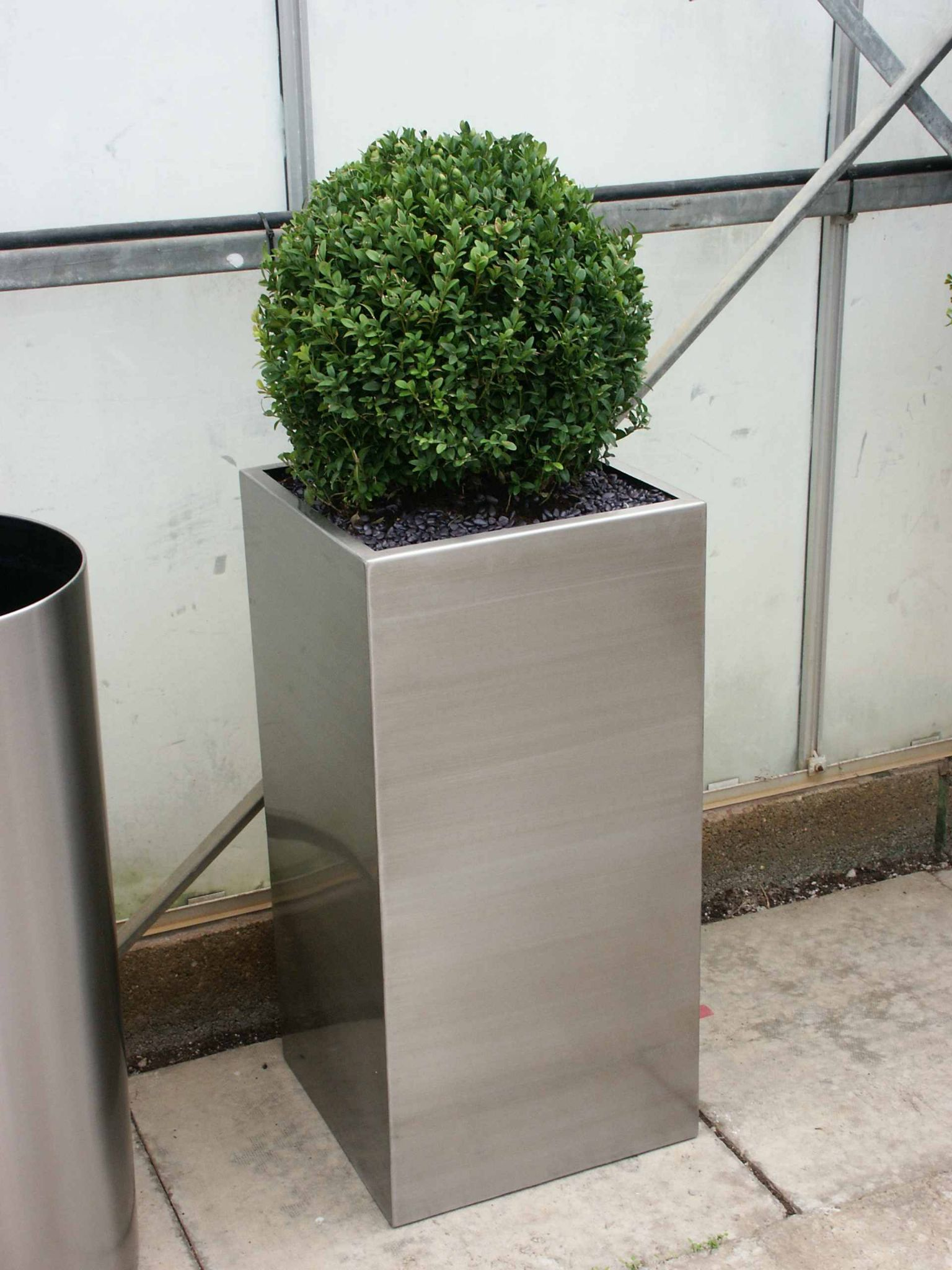Brushed Stainless Steel Tall Square Planter From Potstore