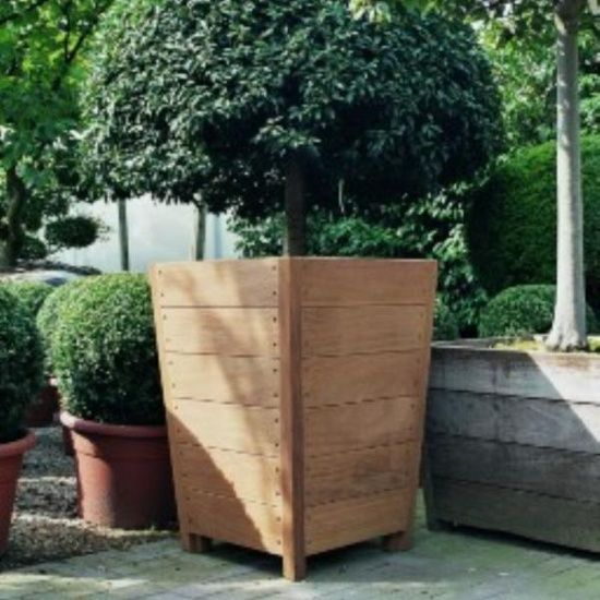 Large Corner L Shaped Wooden Garden Planter Box Trough: Hardwood Sevilla Planters From Potstore.co.uk
